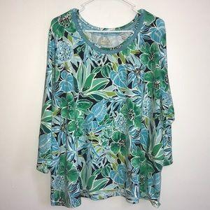 Caribbean Joe Blue & Green Floral Top